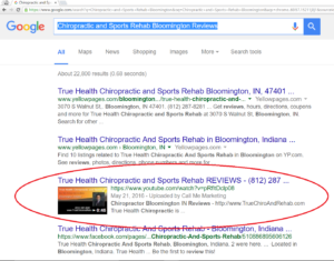 Chiropractic and Sports Rehab Bloomington Reviews - Google Screen Shot - With Circle 150529